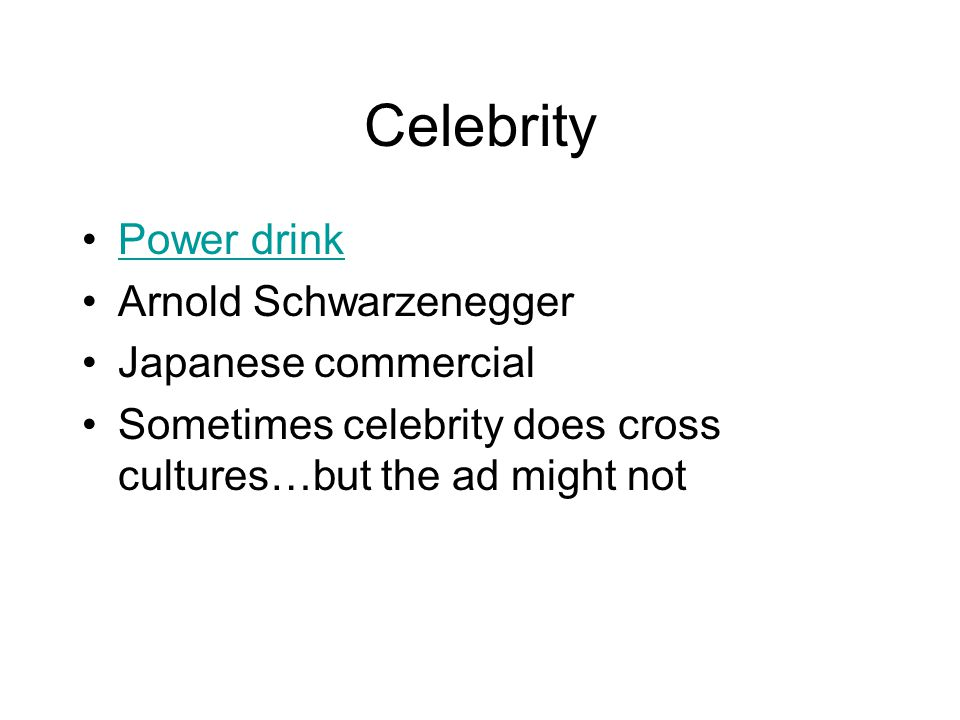 Celebrity Power drink Arnold Schwarzenegger Japanese commercial Sometimes celebrity does cross cultures…but the ad might not