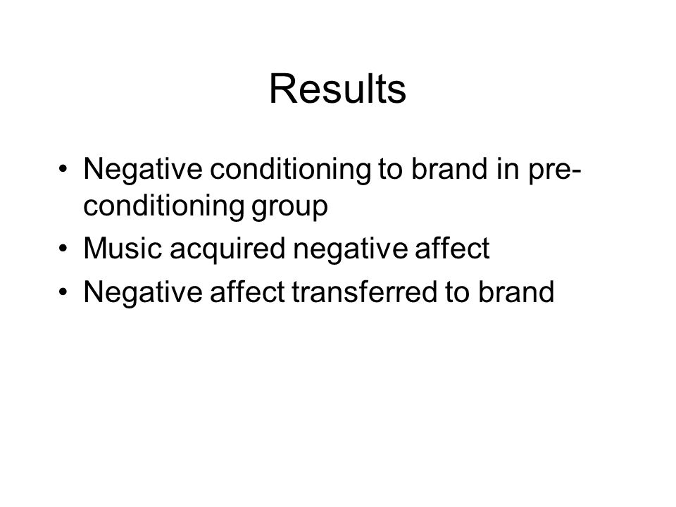Results Negative conditioning to brand in pre- conditioning group Music acquired negative affect Negative affect transferred to brand