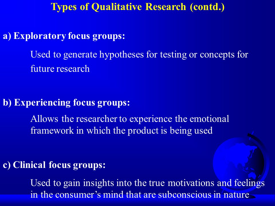 Types of Qualitative Research (contd.) a) Exploratory focus groups: Used to generate hypotheses for testing or concepts for future research b) Experie