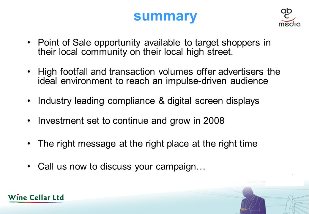 summary Point of Sale opportunity available to target shoppers in their local community on their local high street.