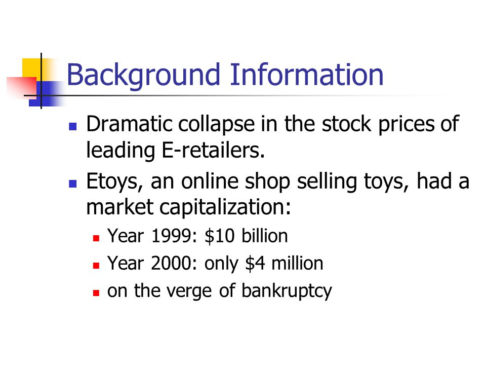 Background Information Dramatic collapse in the stock prices of leading E-retailers.