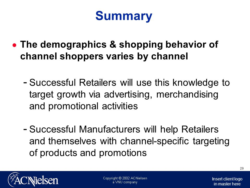 Insert client logo in master here 30 Summary Retailers  Alternative channel retailers are coming after your shoppers & their shopping trips invest dollars to re-invent yourselves.