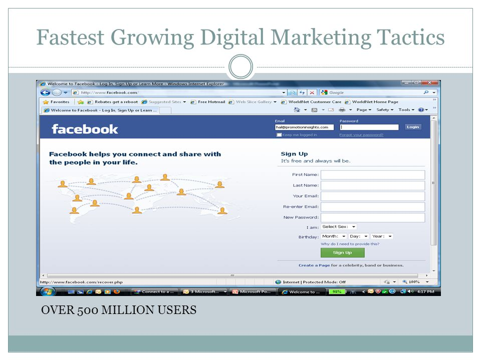 Fastest Growing Digital Marketing Tactics OVER 500 MILLION USERS