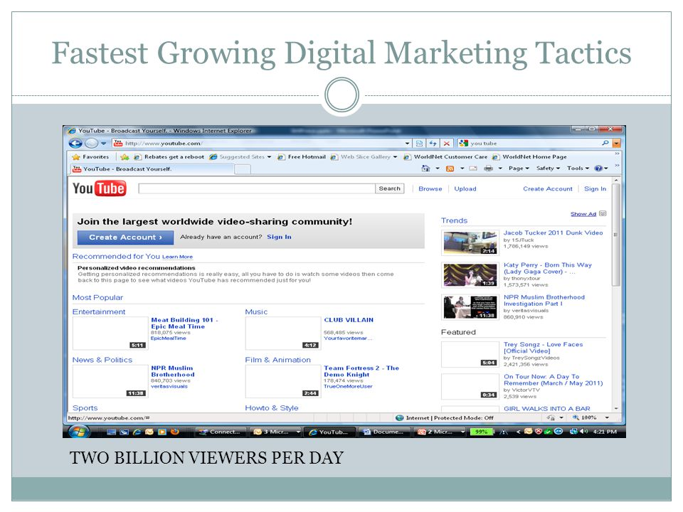 Fastest Growing Digital Marketing Tactics TWO BILLION VIEWERS PER DAY
