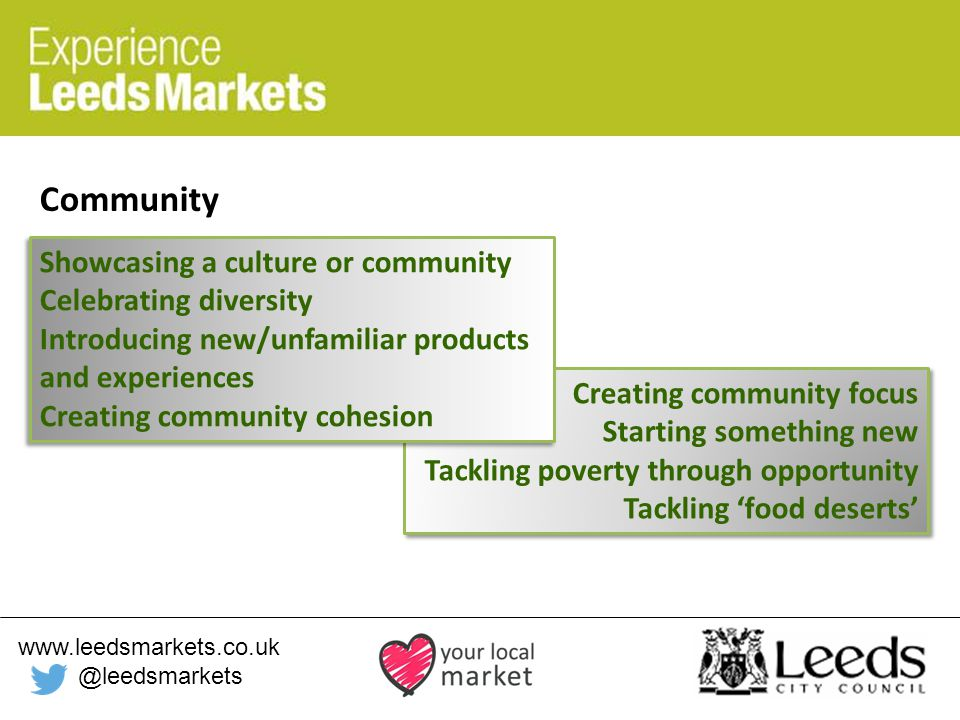 www.leedsmarkets.co.uk @leedsmarkets Community Creating community focus Starting something new Tackling poverty through opportunity Tackling 'food deserts' Creating community focus Starting something new Tackling poverty through opportunity Tackling 'food deserts' Showcasing a culture or community Celebrating diversity Introducing new/unfamiliar products and experiences Creating community cohesion Showcasing a culture or community Celebrating diversity Introducing new/unfamiliar products and experiences Creating community cohesion