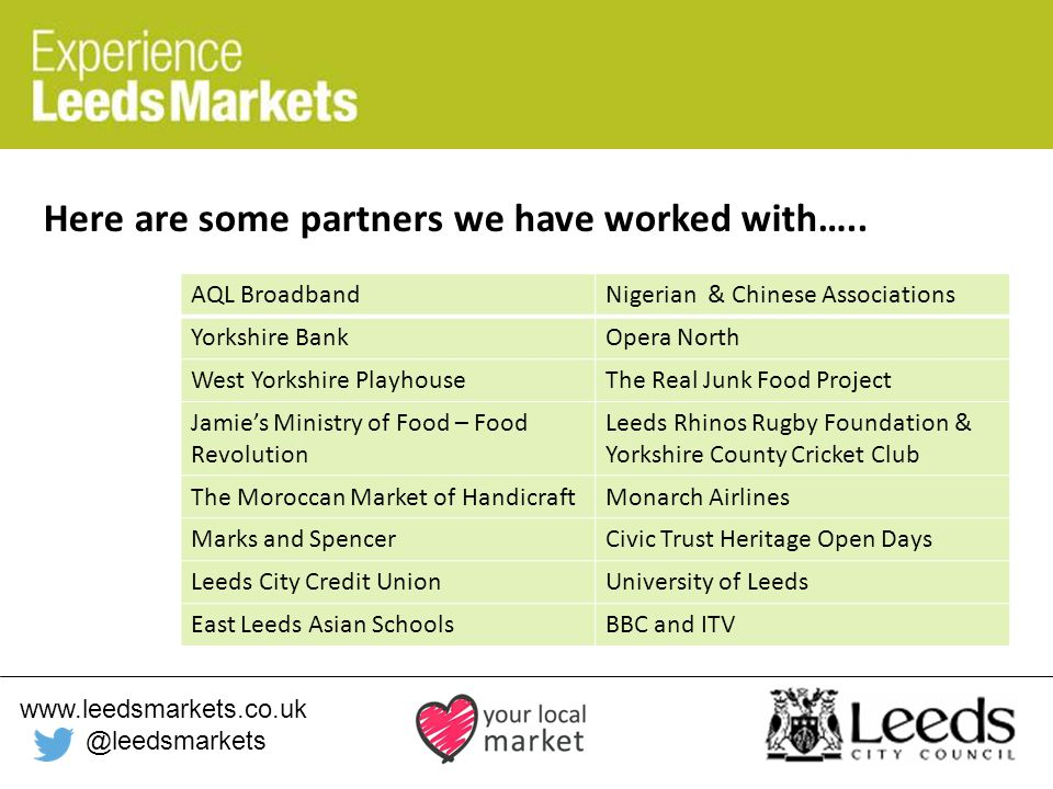 www.leedsmarkets.co.uk @leedsmarkets Here are some partners we have worked with…..