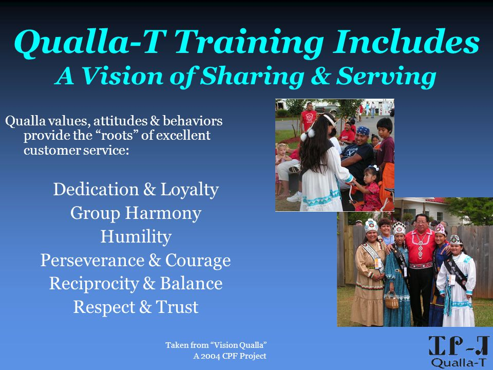 Qualla-T Training Includes A Vision of Sharing & Serving Qualla values, attitudes & behaviors provide the roots of excellent customer service: Dedication & Loyalty Group Harmony Humility Perseverance & Courage Reciprocity & Balance Respect & Trust Taken from Vision Qualla A 2004 CPF Project