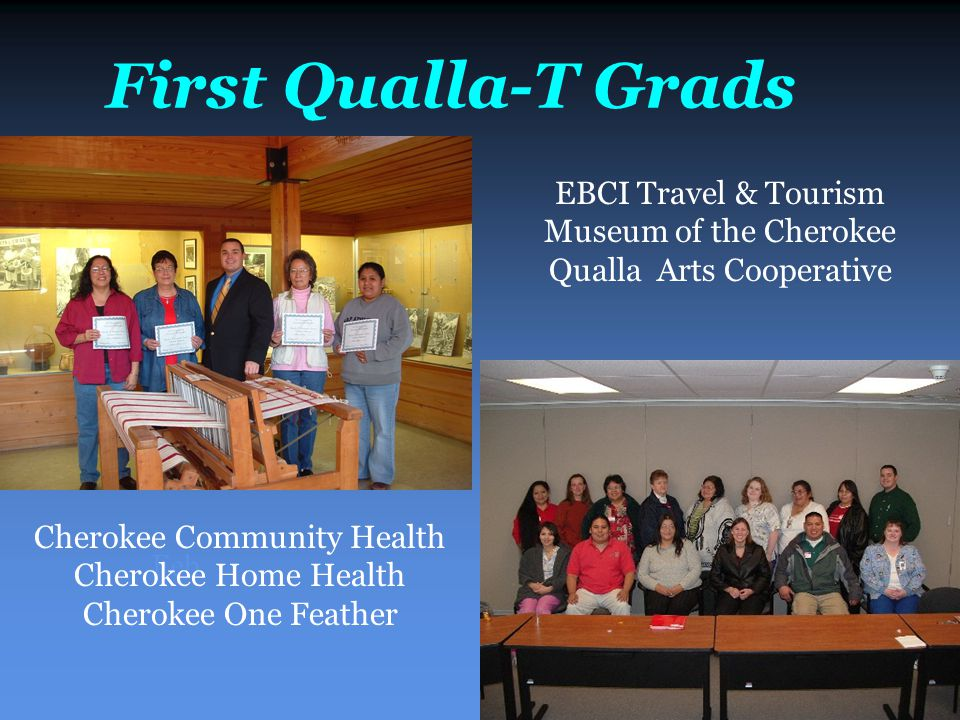 First Qualla-T Grads Feb Cherokee Community Health Cherokee Home Health Cherokee One Feather EBCI Travel & Tourism Museum of the Cherokee Qualla Arts Cooperative