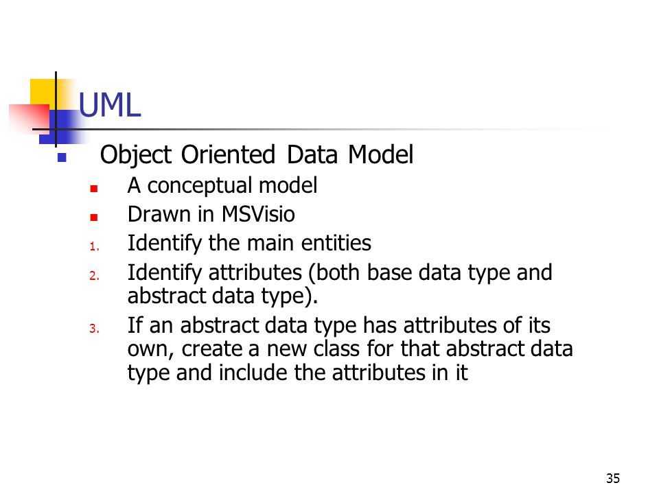 35 UML Object Oriented Data Model A conceptual model Drawn in MSVisio 1. Identify the main entities 2. Identify attributes (both base data type and ab