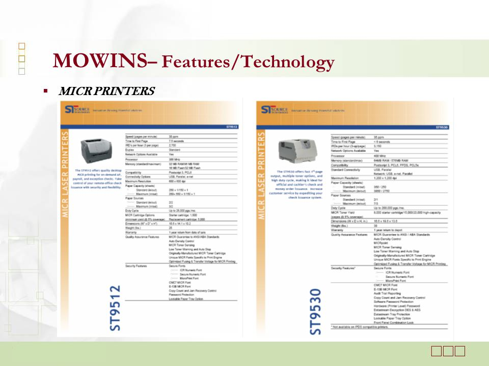  MICR PRINTERS MOWINS – Features/Technology