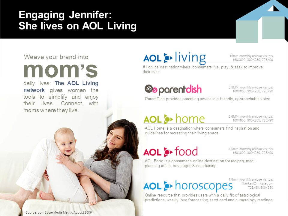 12 Engaging Jennifer: She lives on AOL Living #1 online destination where consumers live, play, & seek to improve their lives ParentDish provides parenting advice in a friendly, approachable voice.