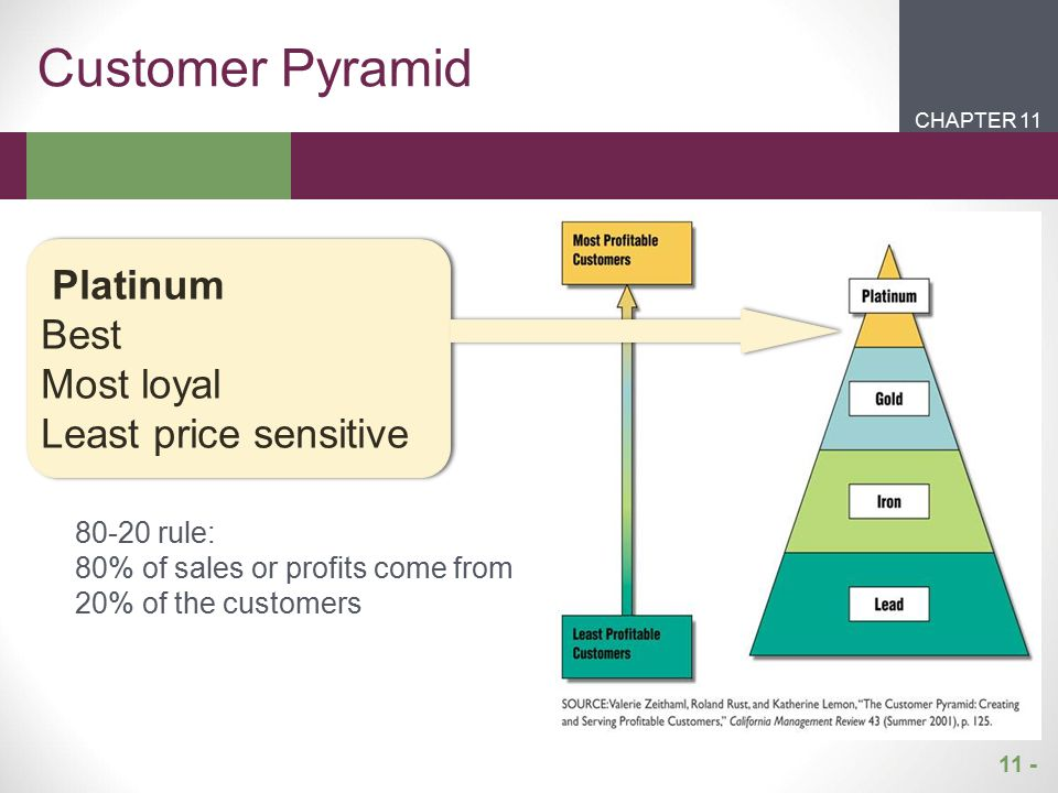11 - CHAPTER 2CHAPTER 1 CHAPTER 11 Customer Pyramid Platinum Best Most loyal Least price sensitive 80-20 rule: 80% of sales or profits come from 20% o