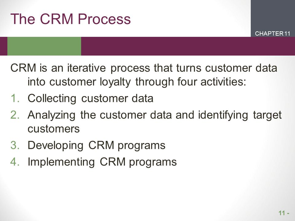 11 - CHAPTER 2CHAPTER 1 CHAPTER 11 The CRM Process CRM is an iterative process that turns customer data into customer loyalty through four activities: