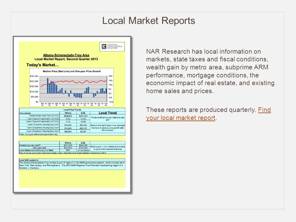 Local Market Reports NAR Research has local information on markets, state taxes and fiscal conditions, wealth gain by metro area, subprime ARM performance, mortgage conditions, the economic impact of real estate, and existing home sales and prices.