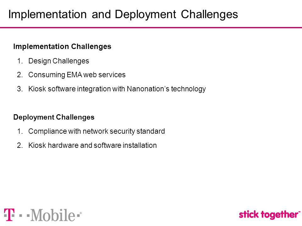 Implementation and Deployment Challenges Implementation Challenges 1.Design Challenges 2.Consuming EMA web services 3.Kiosk software integration with Nanonation's technology Deployment Challenges 1.Compliance with network security standard 2.Kiosk hardware and software installation