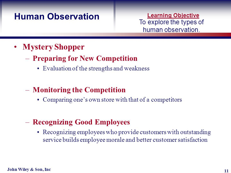Learning Objective John Wiley & Son, Inc 11 To explore the types of human observation.