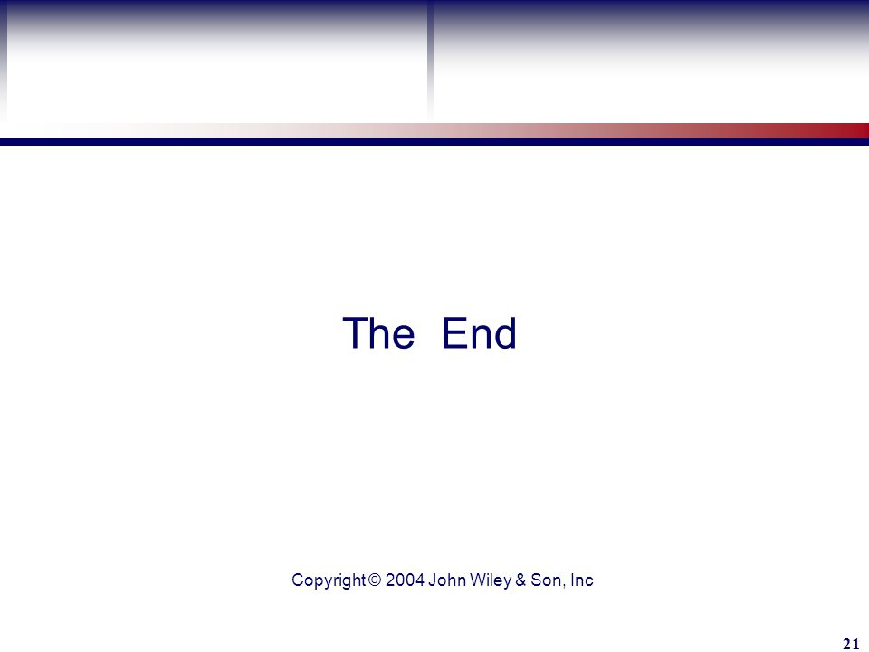 Learning Objective John Wiley & Son, Inc 21 The End Copyright © 2004 John Wiley & Son, Inc