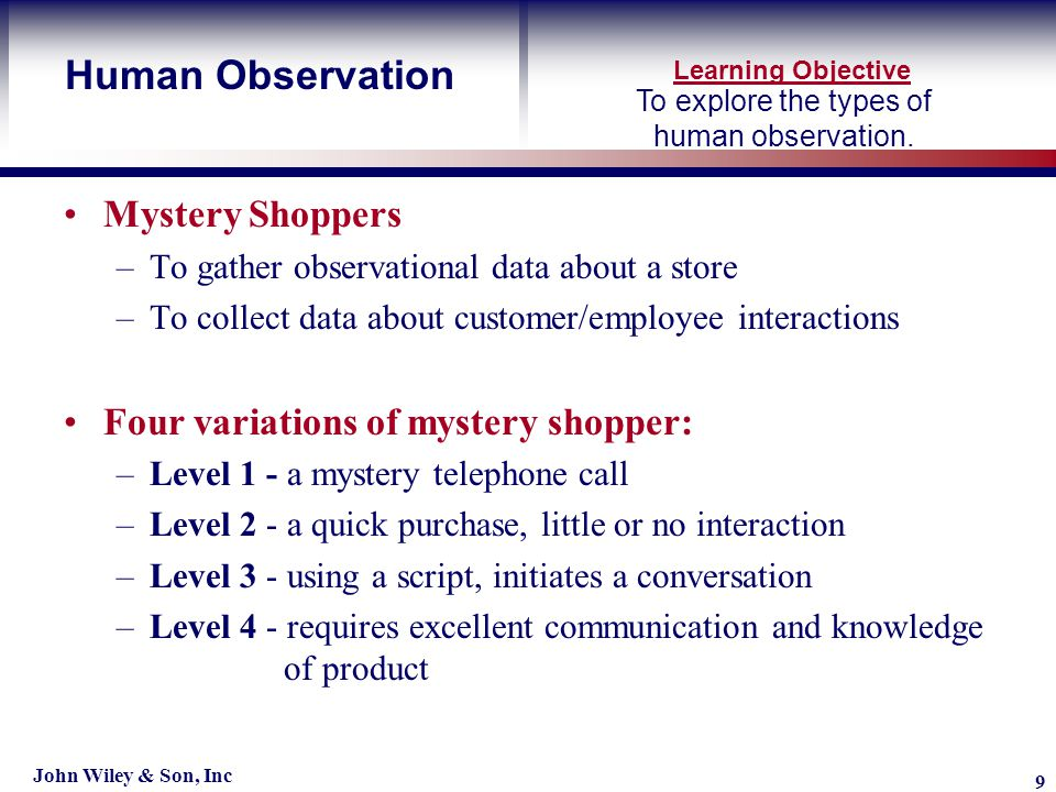 Learning Objective John Wiley & Son, Inc 9 To explore the types of human observation.