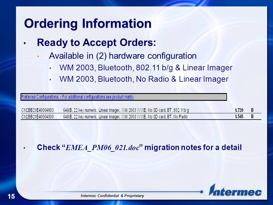 Intermec Confidential & Proprietary 15 Ordering Information Ready to Accept Orders: Available in (2) hardware configuration WM 2003, Bluetooth, 802.11 b/g & Linear Imager WM 2003, Bluetooth, No Radio & Linear Imager Check EMEA_PM06_021.doc migration notes for a detail