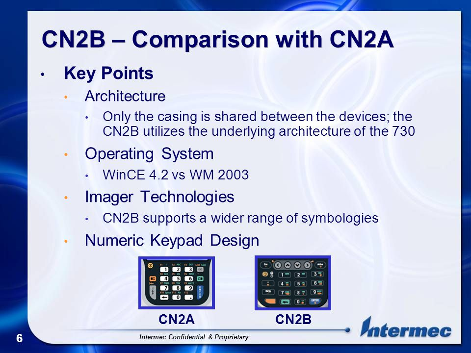 Intermec Confidential & Proprietary 7 CN2B – Comparison with CN2A * This dock supports USB Client, USB Host and Modem connections.