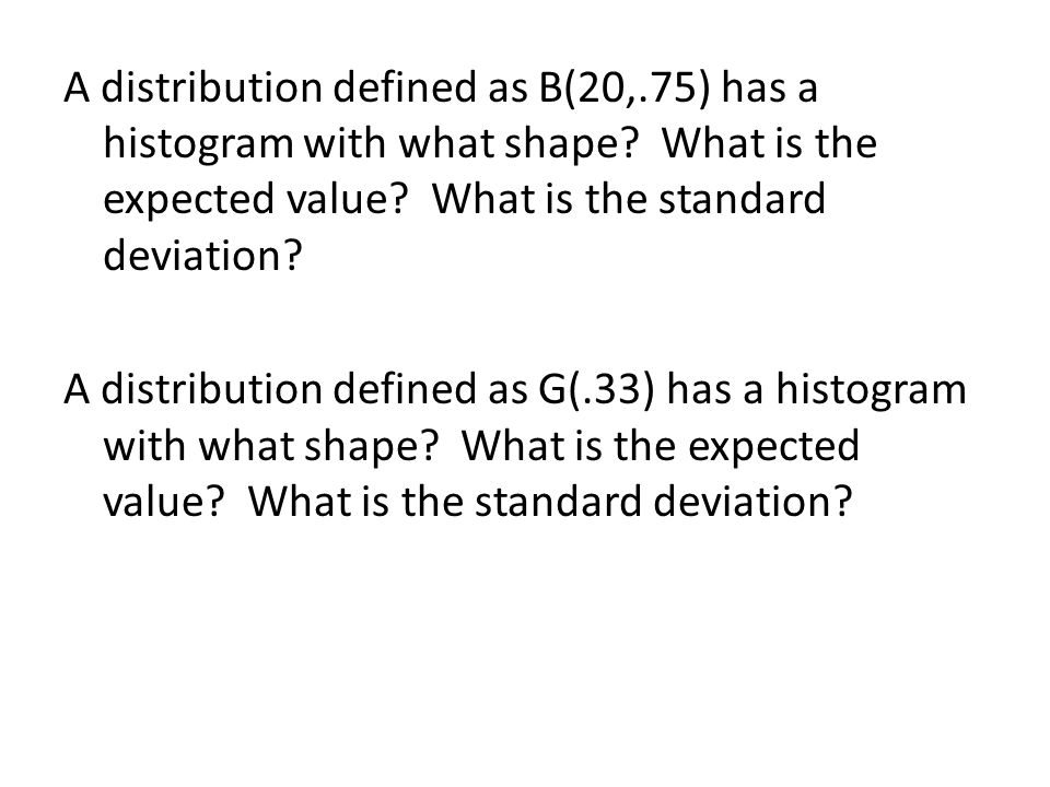 A distribution defined as B(20,.75) has a histogram with what shape.