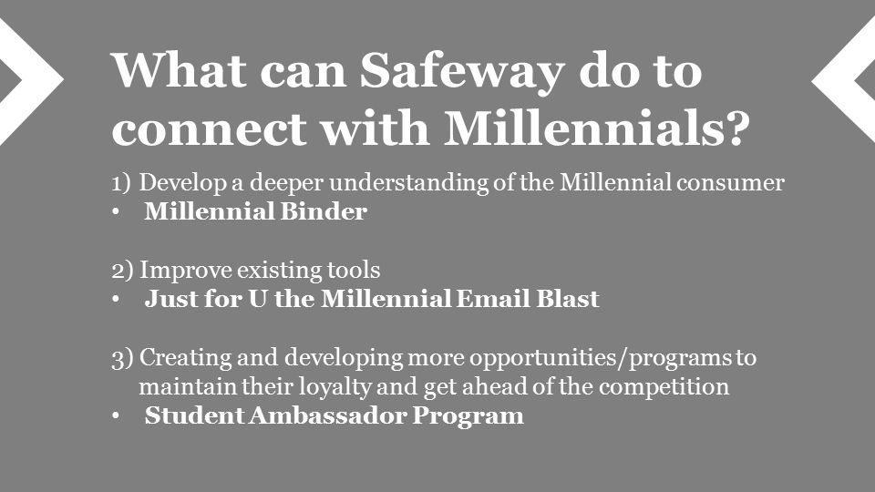 What can Safeway do to connect with Millennials.