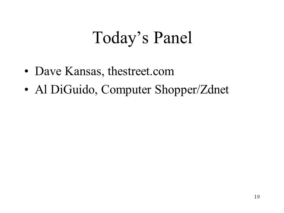 19 Today's Panel Dave Kansas, thestreet.com Al DiGuido, Computer Shopper/Zdnet