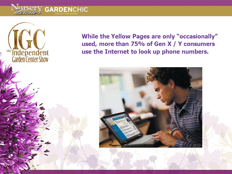 While the Yellow Pages are only occasionally used, more than 75% of Gen X / Y consumers use the Internet to look up phone numbers.