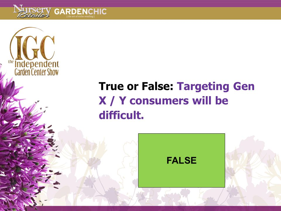 True or False: Targeting Gen X / Y consumers will be difficult. FALSE