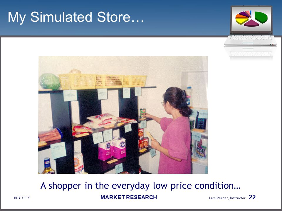 BUAD 307 MARKET RESEARCH Lars Perner, Instructor 22 My Simulated Store… A shopper in the everyday low price condition…