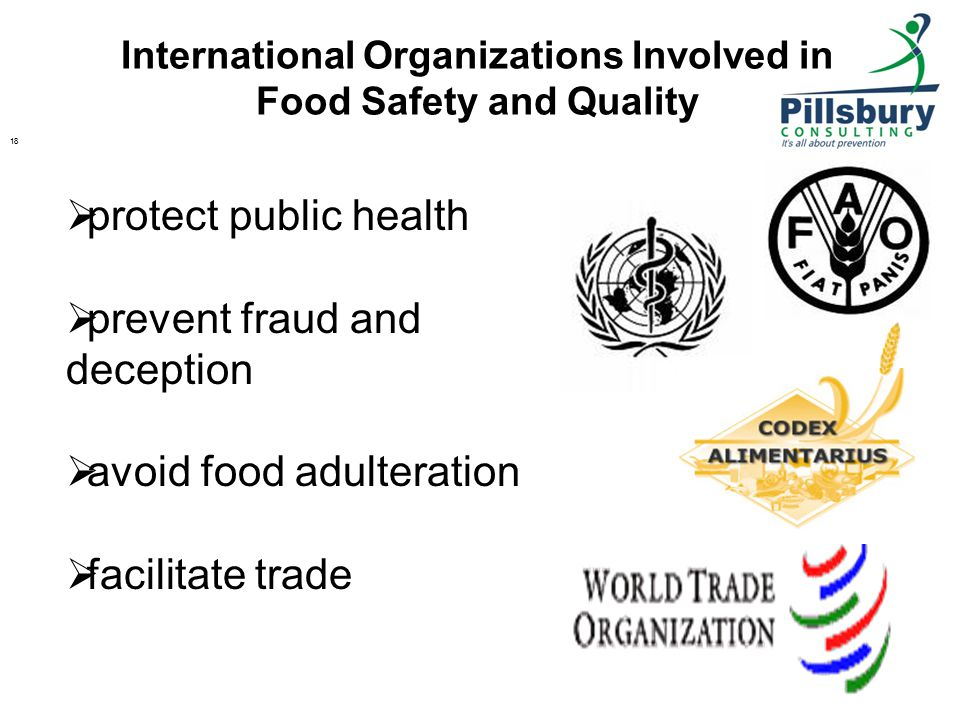 International Organizations Involved in Food Safety and Quality 18  protect public health  prevent fraud and deception  avoid food adulteration  facilitate trade