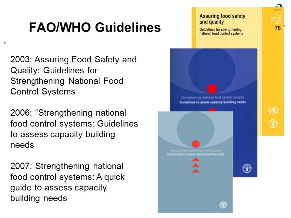 """FAO/WHO Guidelines 19 2003: Assuring Food Safety and Quality: Guidelines for Strengthening National Food Control Systems 2006: """"Strengthening national"""