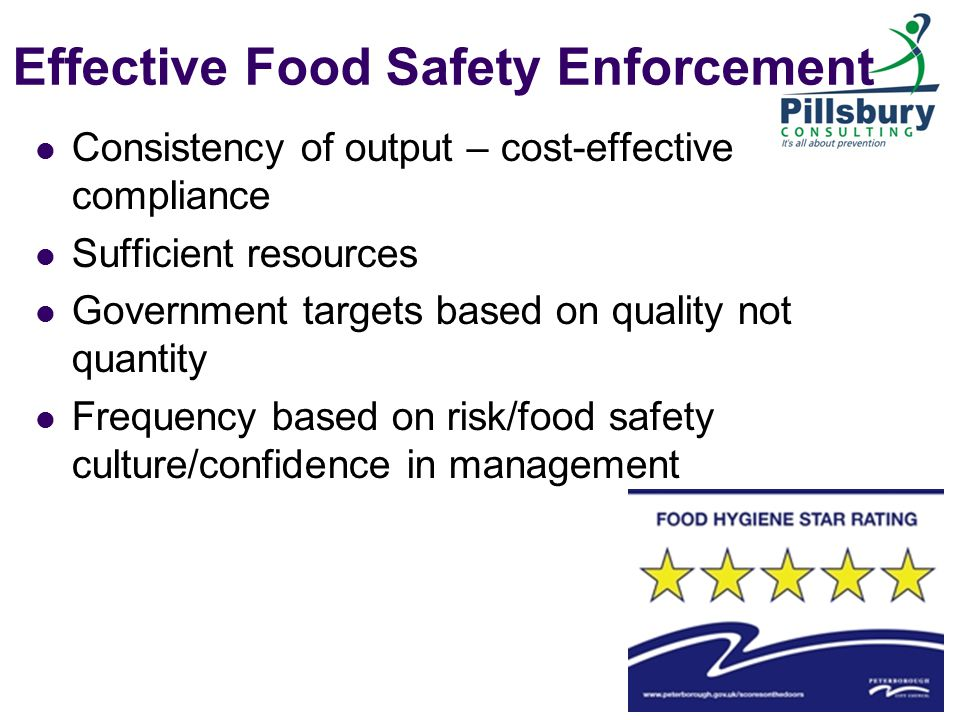 Effective Food Safety Enforcement Consistency of output – cost-effective compliance Sufficient resources Government targets based on quality not quantity Frequency based on risk/food safety culture/confidence in management