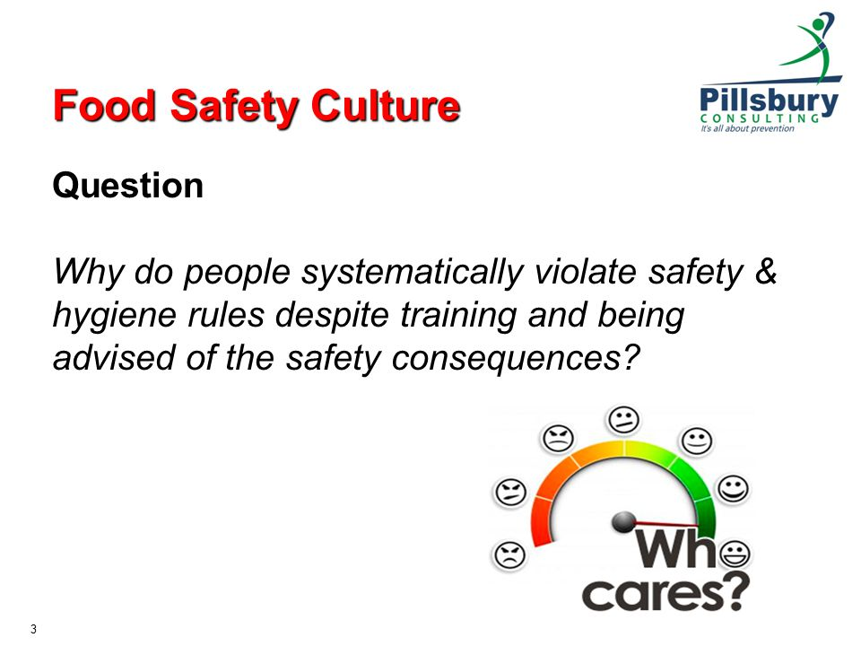 Food Safety Culture Question Why do people systematically violate safety & hygiene rules despite training and being advised of the safety consequences.