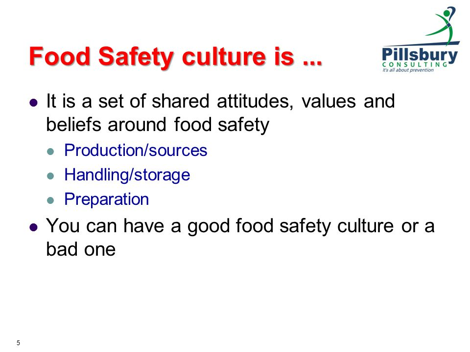 Food Safety culture is... It is a set of shared attitudes, values and beliefs around food safety Production/sources Handling/storage Preparation You c