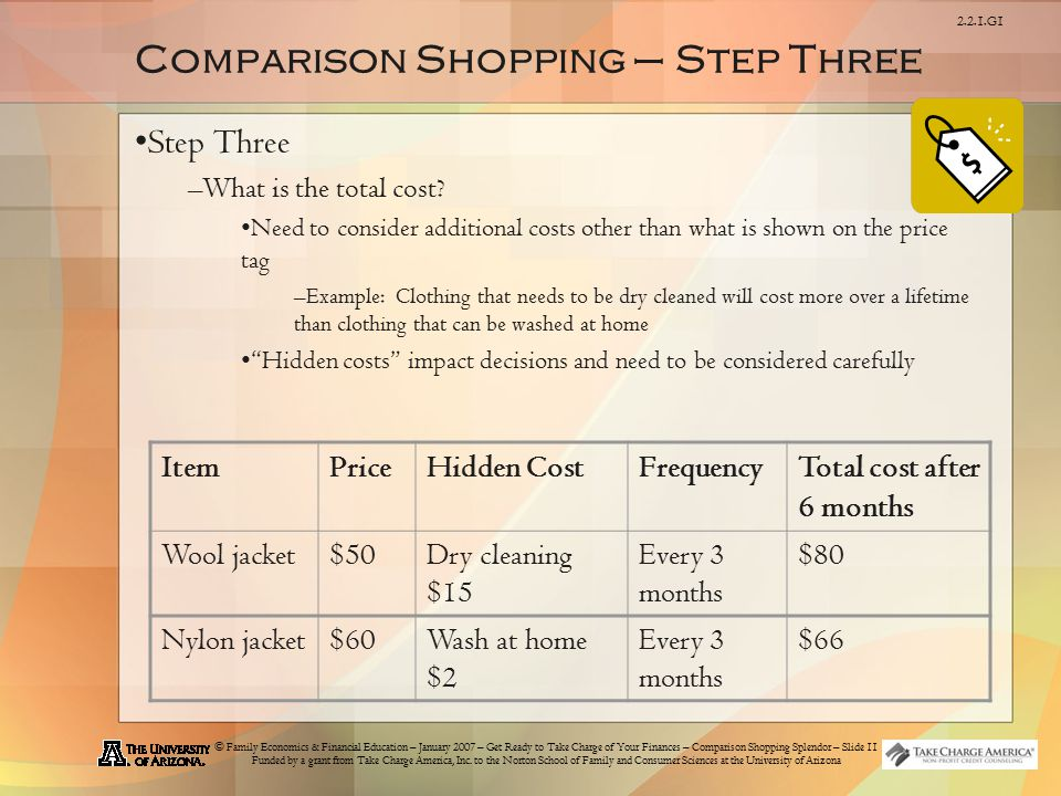 © Family Economics & Financial Education – January 2007 – Get Ready to Take Charge of Your Finances – Comparison Shopping Splendor – Slide 11 Funded by a grant from Take Charge America, Inc.