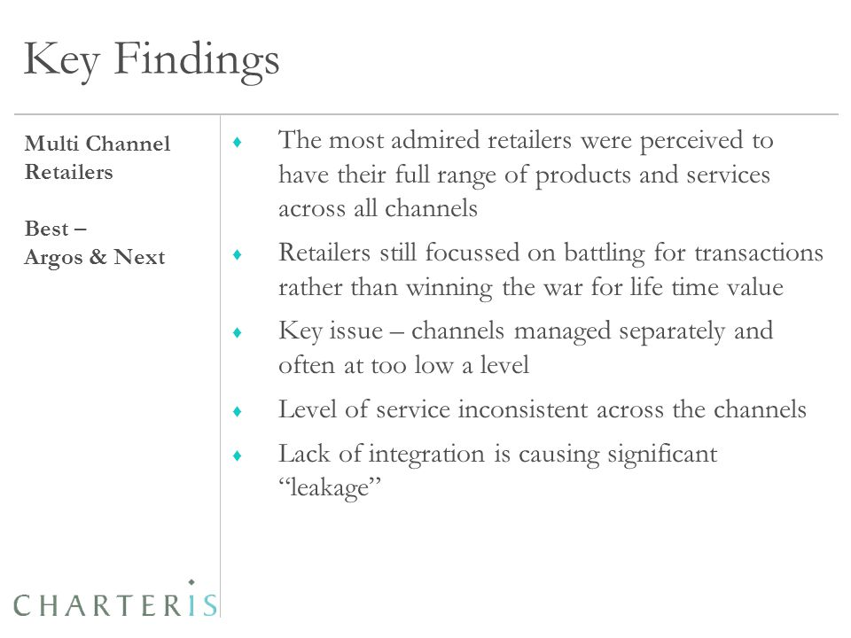 Key Findings ♦ The most admired retailers were perceived to have their full range of products and services across all channels ♦ Retailers still focussed on battling for transactions rather than winning the war for life time value ♦ Key issue – channels managed separately and often at too low a level ♦ Level of service inconsistent across the channels ♦ Lack of integration is causing significant leakage Multi Channel Retailers Best – Argos & Next