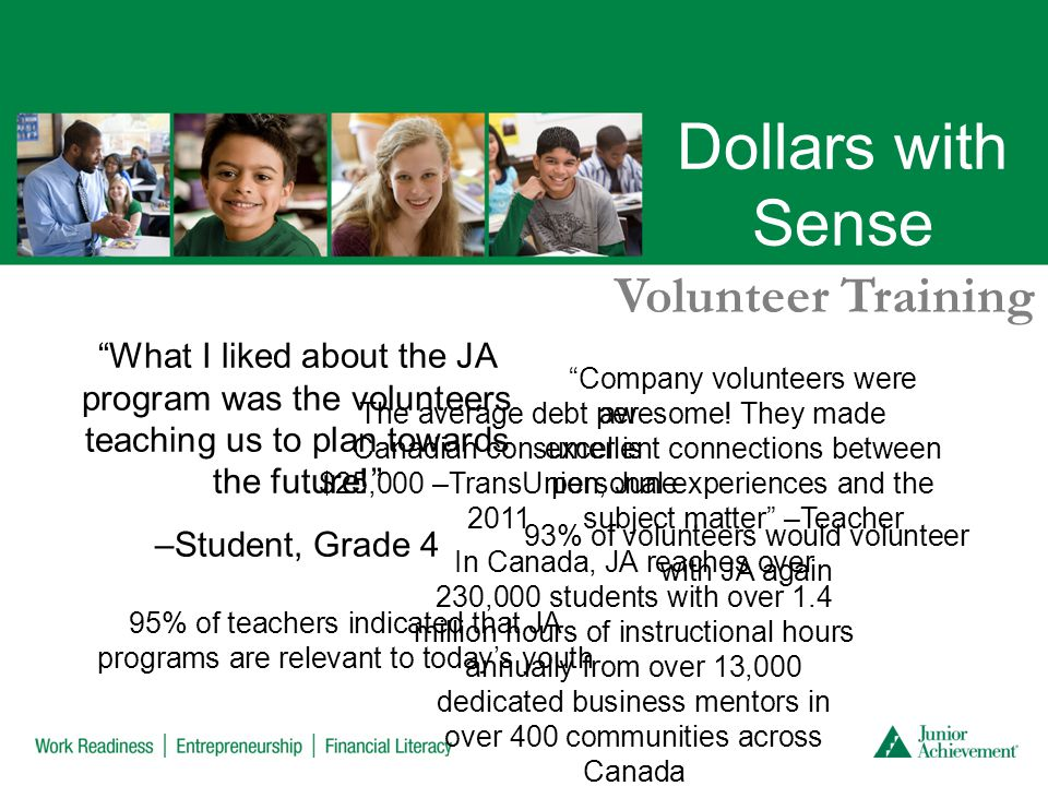 Dollars with Sense Volunteer Training What I liked about the JA program was the volunteers teaching us to plan towards the future! –Student, Grade 4 93% of volunteers would volunteer with JA again 95% of teachers indicated that JA programs are relevant to today's youth Company volunteers were awesome.