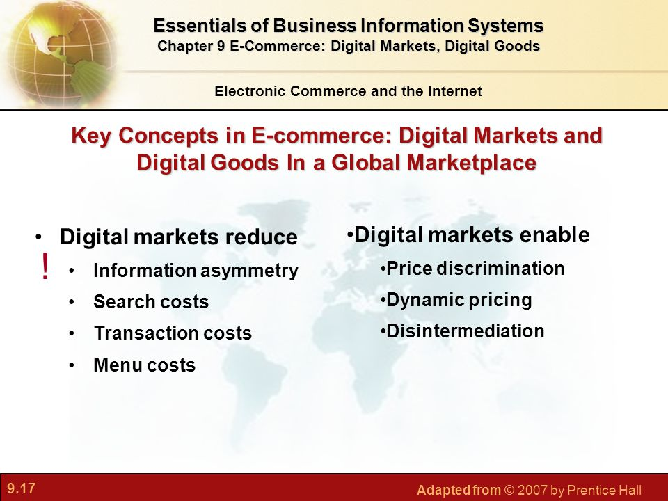 9.17 Adapted from © 2007 by Prentice Hall Key Concepts in E-commerce: Digital Markets and Digital Goods In a Global Marketplace Electronic Commerce an