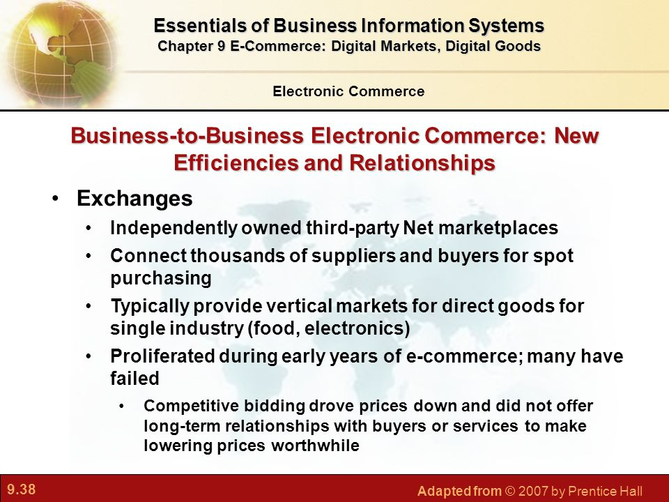 9.38 Adapted from © 2007 by Prentice Hall Business-to-Business Electronic Commerce: New Efficiencies and Relationships Exchanges Independently owned t