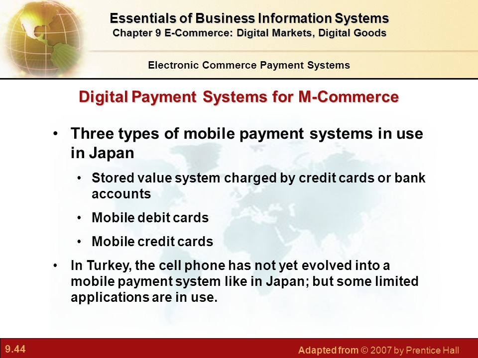 9.44 Adapted from © 2007 by Prentice Hall Digital Payment Systems for M-Commerce Electronic Commerce Payment Systems Essentials of Business Informatio