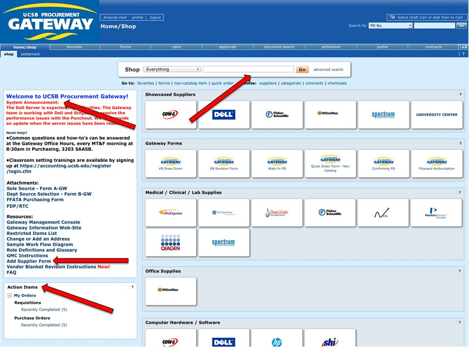 1.Punch-out Suppliers  You can create a cart directly on the vendor's website, and the check-out process takes you back to the Gateway portal for completion.