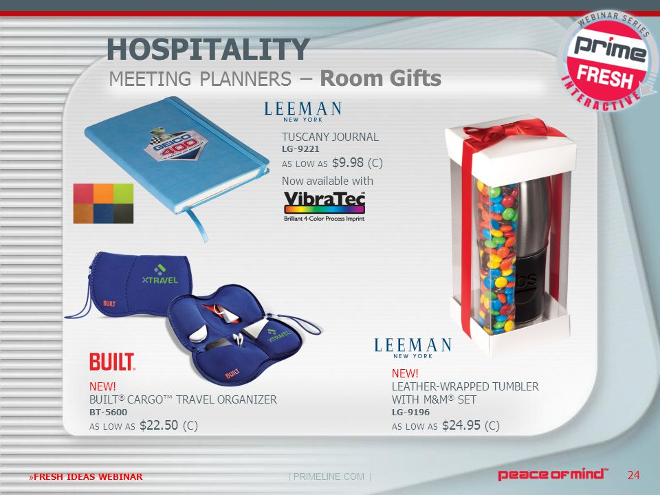 | PRIMELINE.COM | »FRESH IDEAS WEBINAR 24 MEETING PLANNERS – Room Gifts HOSPITALITY NEW! BUILT ® CARGO™ TRAVEL ORGANIZER BT-5600 AS LOW AS $22.50 (C)