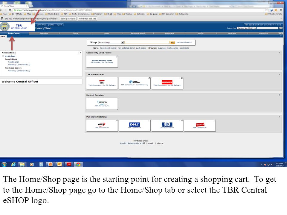 From the Home/Shop page the Shopper can click on one of the catalog suppliers, commonly used forms or the non-catalog item tab.