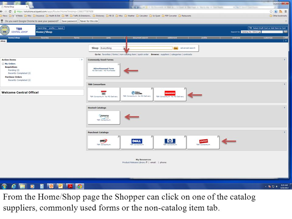 If the Shopper selected the Staples icon (or any one of the Punchout catalogs) the User would be directed away from the TBR Central eShop and to the suppliers web site.