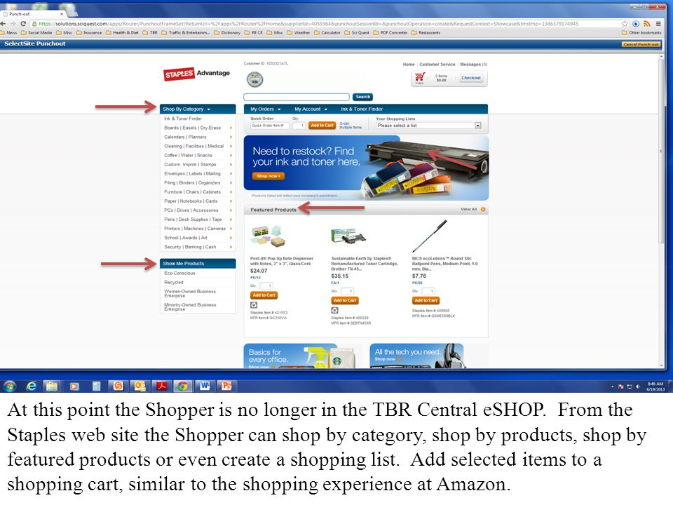 At this point the Shopper is no longer in the TBR Central eSHOP.