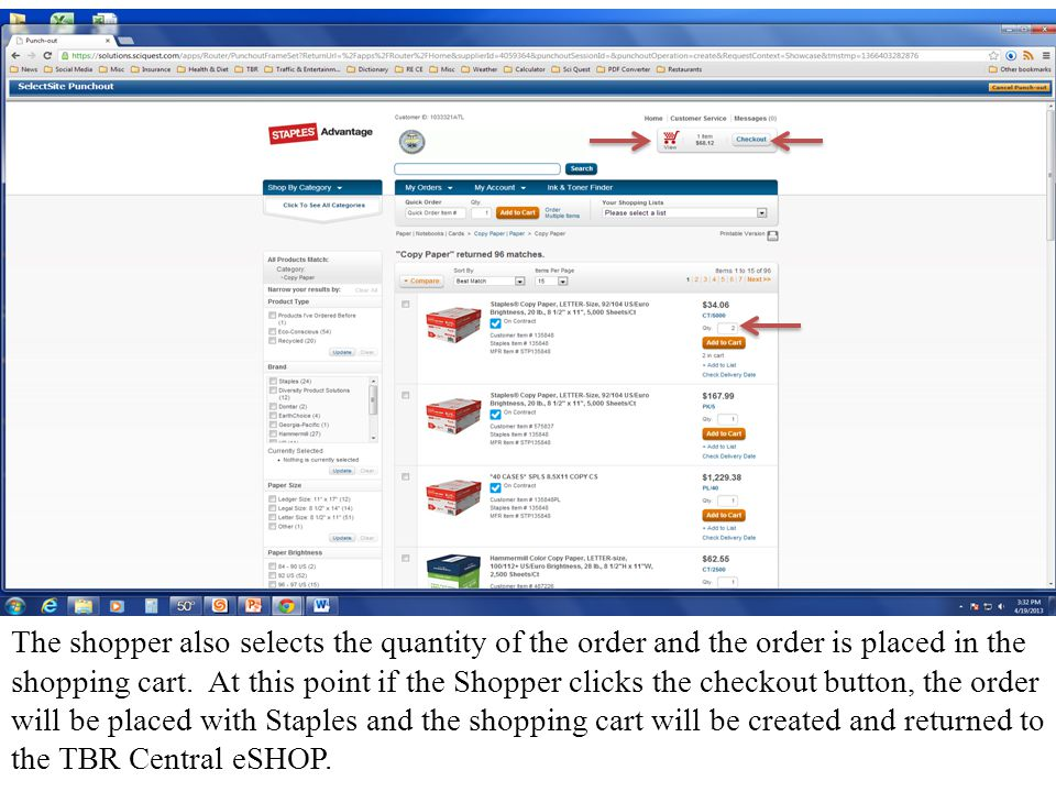Once the Shopper has been returned to the TBR Central eSHOP, the newly created shopping cart can be retrieved by clicking on the Carts navigation tab along the top middle or by clicking on the Carts window in the top right of the Home/Shop screen.