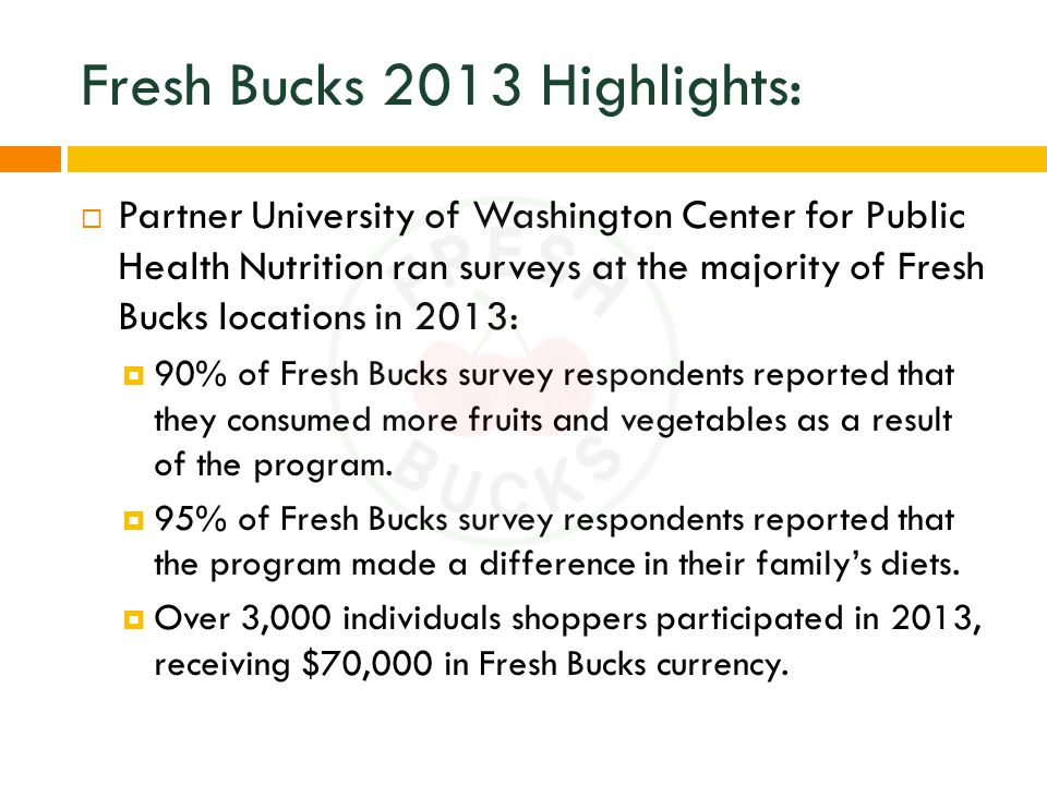 Fresh Bucks 2013 Highlights:  Partner University of Washington Center for Public Health Nutrition ran surveys at the majority of Fresh Bucks locations in 2013:  90% of Fresh Bucks survey respondents reported that they consumed more fruits and vegetables as a result of the program.