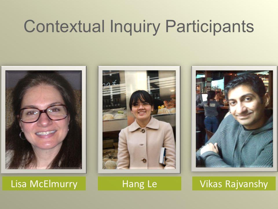 Contextual Inquiry Participants Vikas Rajvanshy Lisa McElmurry Hang Le