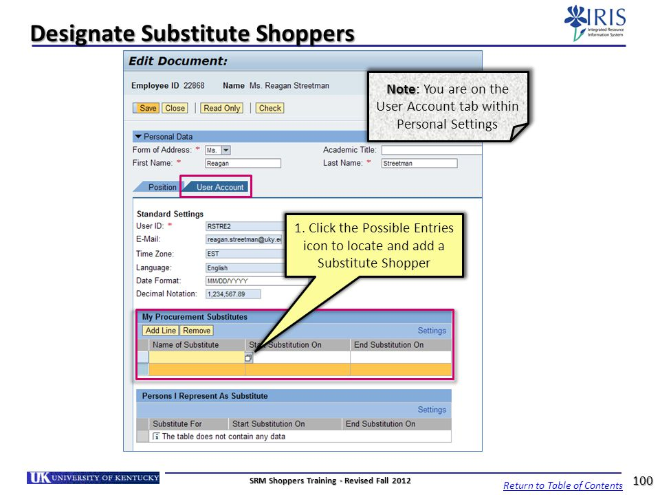 Designate Substitute Shoppers Return to Table of Contents 100 SRM Shoppers Training - Revised Fall 2012